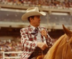 Don Harrington, professional rodeo announcer at the Calgary Stampede