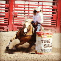 Zayle-Davis-daughter-of-cow-horse-trainer-Zane-Davis-and-Shoot-Me-Katy-at-an-Idaho-High-School-Rodeo. harrington hirschy horses